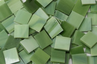 "3/4"" x 3/4"" Avocado Green Stained Glass Mosaic Tiles (40 tiles)"
