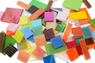 HALF PRICE SALE:  1 lb Random Jumbled Mix Stained Glass Mosaic Tiles