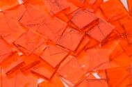 "1"" x 1/4"" Orange Rough Rolled Stained Glass Mosaic Tiles (50 tiles)"