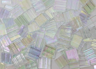 Clear Ruffled Iridescent Stained Glass Mosaic Tiles