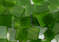 Mossy Green Wispy Stained Glass Mosaic Tiles