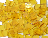"1/2"" x 1/2"" Yellow Rough Rolled Stained Glass Mosaic Tiles (100 tiles)"