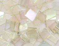 "1/2"" x 1/2"" Clear Smooth Iridescent System 96 Stained Glass Mosaic Tiles (100 tiles)"