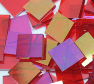 "1"" x 1/4"" Cherry Red Iridescent System 96 Stained Glass Mosaic Tiles (50 tiles)"