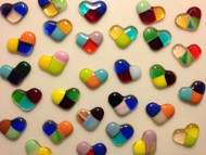 "5 FUSED 1"" HEARTS, RANDOM MIX 3-TONED Stained Glass Mosaic Tiles"