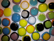 """10 FUSED 1"""" x 1"""" TWO-TONED MIX Stained Glass Mosaic Tiles"""