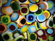 """10 FUSED 1"""" x 1"""" RANDOM MIX 3-TONED Stained Glass Mosaic Tiles"""
