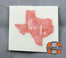 "1x1"" CI scale Texas Orange Vinyl Transfer Sticker"