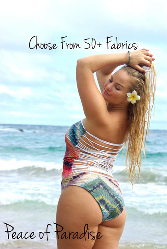 OHEO  1 Piece REVERSIBLE Plus Size Avail Strapless Knotted Bathing Suit Customize Size & Choose from 50+ Fabrics2