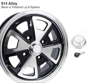 914 Fuch Wheel, Black/ Silver, W/Cap & Stem