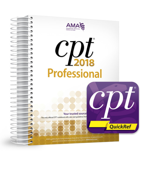 The CPT QuickRef app literally puts CPT coding, guidance and billing tools in the palm of your hand. Package also includes CPT Professional 2018 codebook.