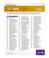 Each double-sided, laminated CPT® 2018 Express Reference coding card is designed to facilitate quick, yet accurate CPT coding by supplying hundreds of the most commonly reported CPT codes per medical specialty. These easy-to-use reference cards allow health care providers and staff members to easily locate a desired code, which can then be referenced in the CPT codebook. A separate card lists all modifiers used with CPT and HCPCS codes