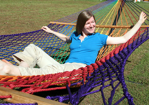 Family Sized Rainbow Olefin Rope Hammock