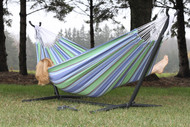 Portable hammock stand for hammocks without spreader bars.
