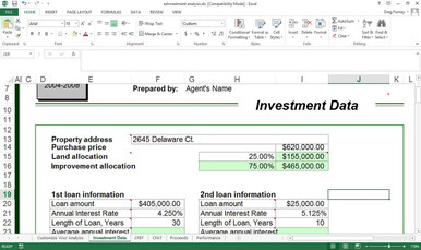 """Finally, the CRS style investment analysis is now automated.  By adding just a few details about a property, you can prepare a comprehensive Investment Analysis on any given property.  Excel will then calculate (the green shaded fields) Cash flow before and after tax, Projected proceeds before and after tax, tax deductions, capital gains, mortgages, mortgage payoffs, yields, Gross Rent Multipliers, Capitalization Rates, Cash on Cash, Debt Coverage Ratios, and more.  Several pull up """"Help"""" screens explain entries to make completion a snap.  So easy you can compile several scenarios for a single property to bridge conservative with optimistic.  It is so easy to look like a pro with tools like these."""