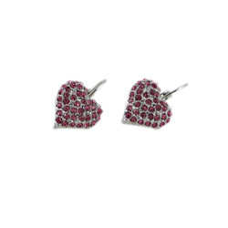 Heart Earrings Pink Crystals