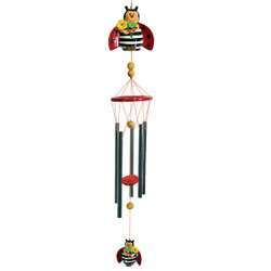 Whimsical Ladybug with Flower Wind Chime