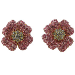 Glittering Flower Stud Earrings Pink