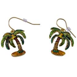 Palm Tree Earrings Enameled