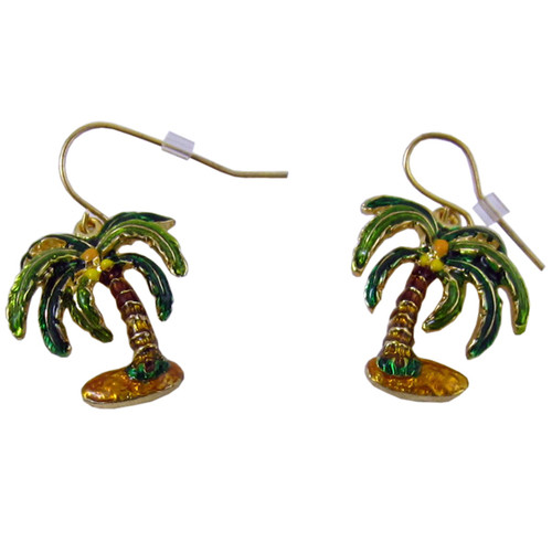 Palm Tree Earrings Enameled