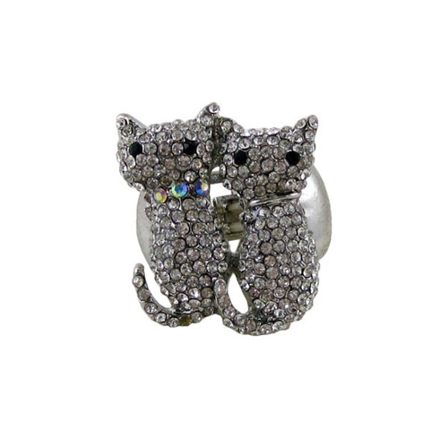 Bejeweled Siamese Cats Stretch Ring Crystals
