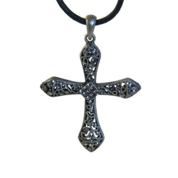 Large Black Filigree Cross Necklace