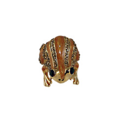 Frog Ring Bejeweled Gold Size 7