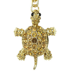Swiveling Turtle Purse Charm Keychain Gold
