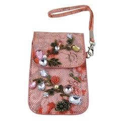 Jeweled Cell Phone Holder Wristlet Pink