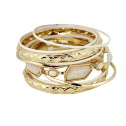 Opal Bangles Bracelets Set White