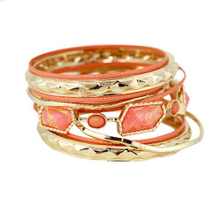 Opal Bangles Bracelets Set Peach