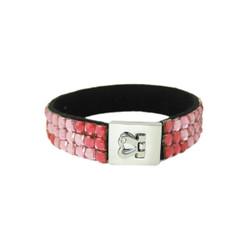 Glittering Bracelet Heart Clasp Pink
