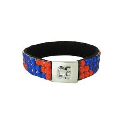 Glittering Bracelet Heart Clasp Patriotic