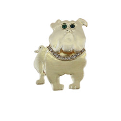 Brushed Gold Bulldog Pin with Crystals