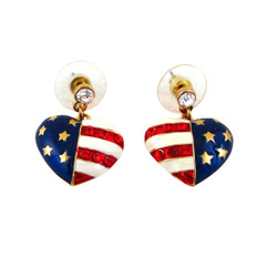American Flag Heart Earrings Jeweled
