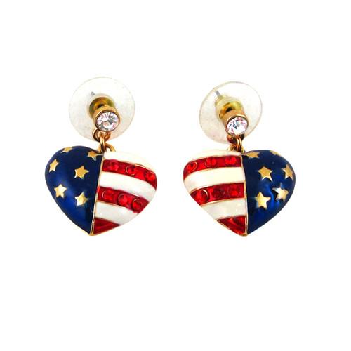 American Flag Heart Earrings Jeweled
