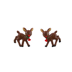Fawn Stud Earrings Christmas Jewelry Enameled