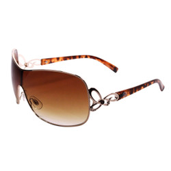 Gold Rim Sunglasses with Rhinestones Brown