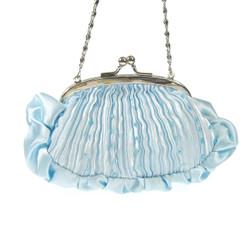 Pleated Evening Clutch Purse Light Blue