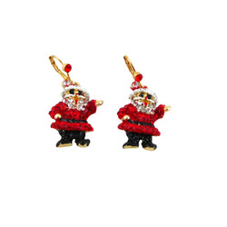 Santa Claus Earrings Crystal Accented