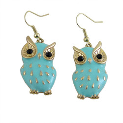 Owl Earrings Baby Blue Enameled