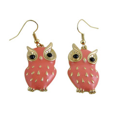 Owl Earrings Coral Pink Enameled