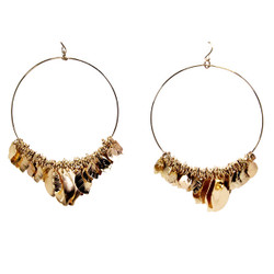 Gold Hoop Earrings with Leaf Charms