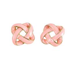 Large Enamel Knot Stud Earrings Pink