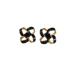 Small Enamel Knot Stud Earrings Black
