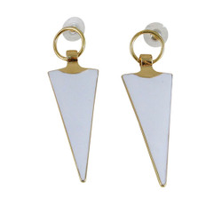 Geometric Drop Earrings White