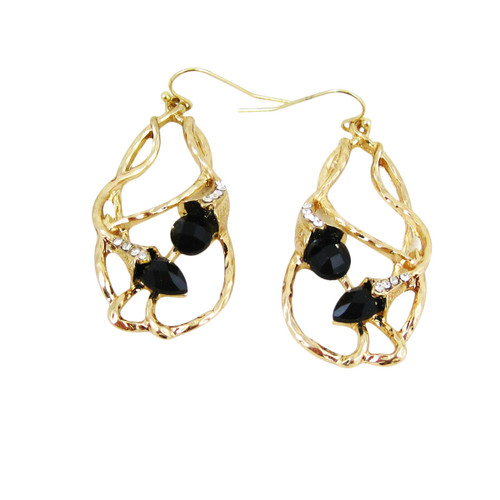 Bohemian Beaded Design Earrings Black