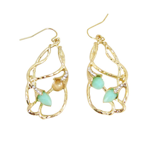 Bohemian Beaded Design Earrings Seafoam Green
