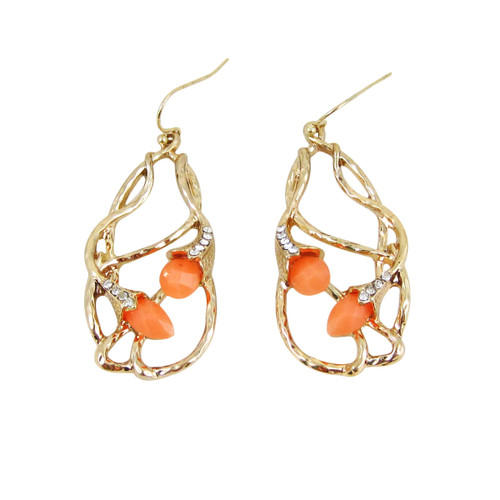 Bohemian Beaded Design Earrings Coral
