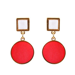 Art Deco Design Earrings Coral